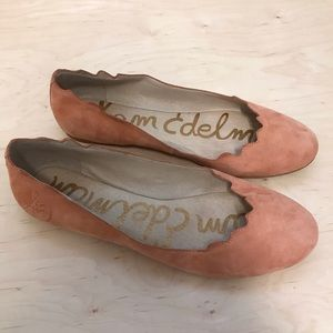 Sam Edelman Pink Suede Scallop Edge Flat Shoes 8.5